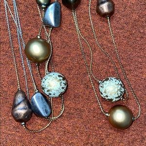Faux stone and bead necklace.